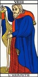 Carta del Arcano Mayor El Ermitaño del Tarot