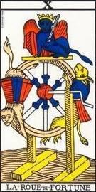 Carta de la rueda de la fortuna del Tarot