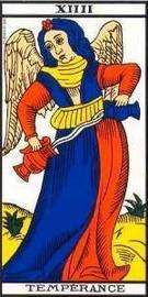 Carta del Arcano Mayor La Templanza del Tarot