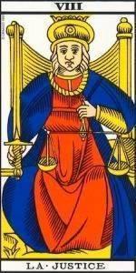 Carta del Arcano mayor la Justicia del Tarot