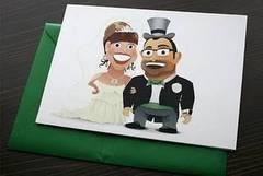 Invitación de boda con caricatura de los novios