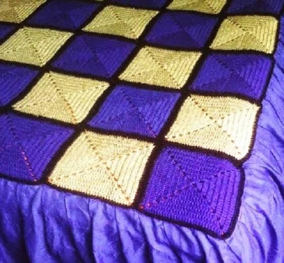 Mantas De Crochet A Cuadros Y Otras Colchas Tejidas Con Ganchillo