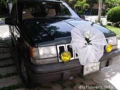Decoración para coches de bodas