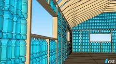 Casa de botellas de plástico