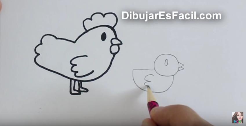 Cómo dibujar una gallina y un pollito paso a paso para colorear ...