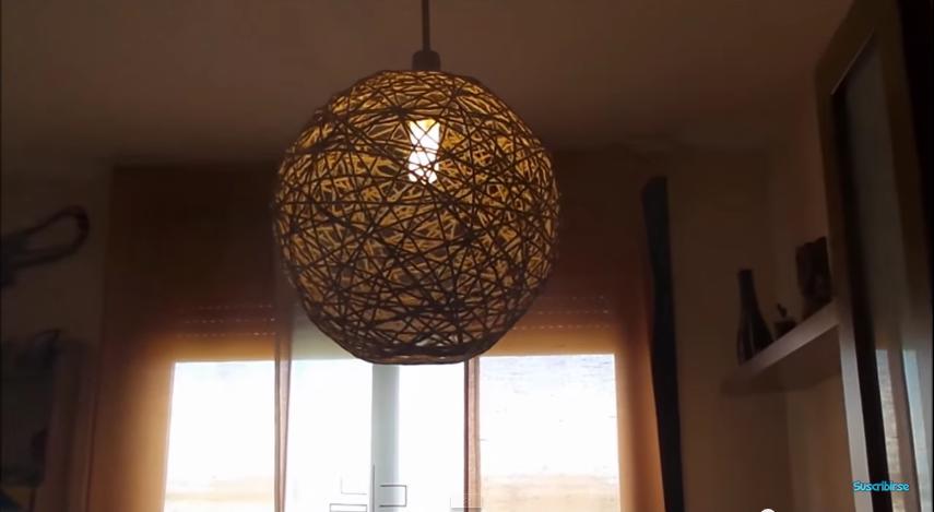 C mo hacer una l mpara colgante casera con material - Como hacer una lampara de pared ...
