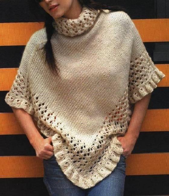 Ponchos de lana tejidos :: Cómo hacer ponchos tejidos de punto